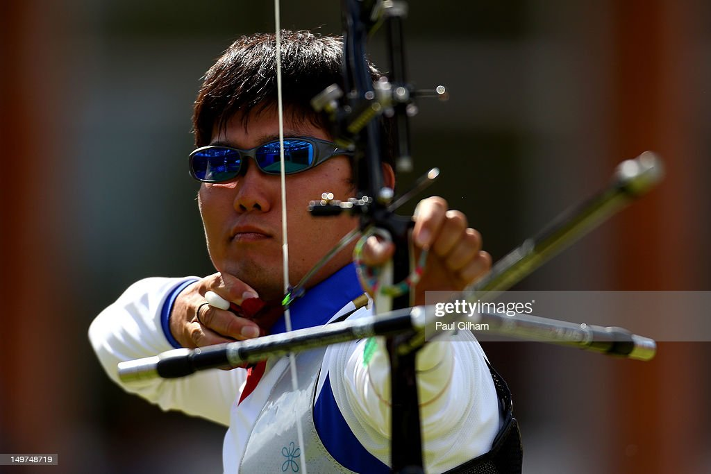Takaharu Furukawa of Japan competes against Rick Van Der Ven of Netherlands during the Men's Individual Archery Semifinal match on Day 7 of the London 2012 Olympic Games at Lord's Cricket Ground on August 3, 2012 in London, England.