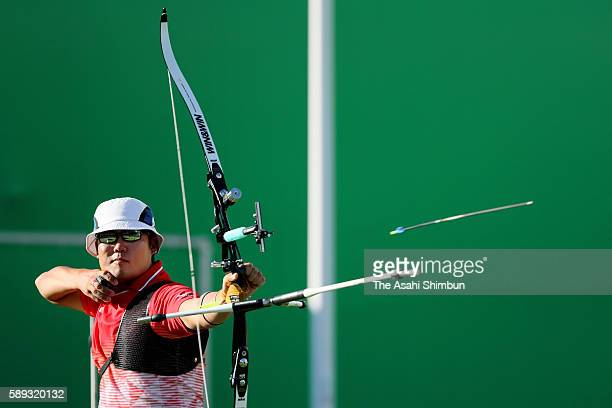 Takaharu Furukawa of Japan competes in the Men's Individual round of 8 Elimination Round on Day 7 of the Rio 2016 Olympic Games at the Sambodromo on...