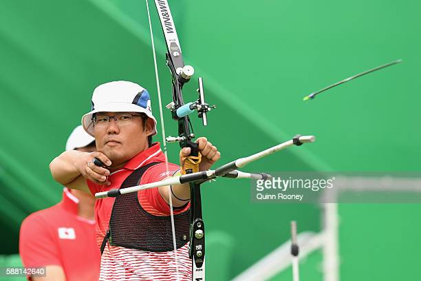Takaharu Furukawa of Japan competes in the Men's Individual round of 32 Elimination Round on Day 5 of the Rio 2016 Olympic Games at the Sambodromo on...