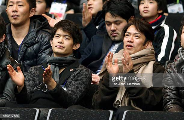 Takahiko Kozuka and Daisuke Takahashi are seen during the 82nd All Japan Figure Skating Championships at Saitama Super Arena on December 23 2013 in...