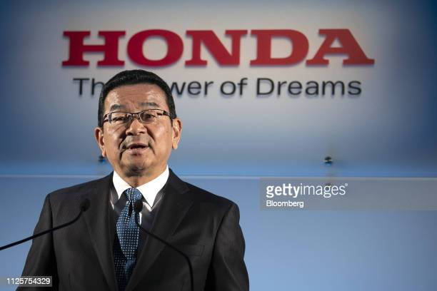 Takahiro Hachigo president and chief executive officer of Honda Motor Co speaks at a news conference in Tokyo Japan on Tuesday Feb 19 2019 Honda said...