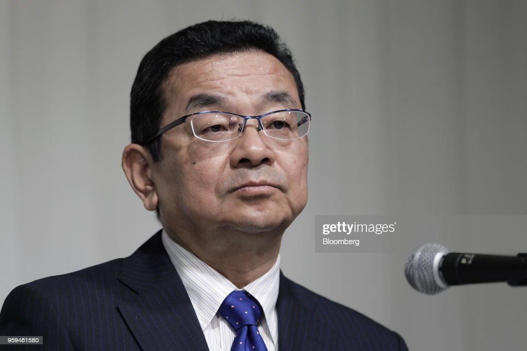 Takahiro Hachigo, president and chief executive officer of Honda Motor Co. and one of the vice chairmen of Japan Automobile Manufacturers Association Inc. (JAMA), pauses during a news conference in Tokyo, Japan, on Thursday, May 17, 2018. Toyota Motor Corp. president Akio Toyoda became the chairman of JAMA today. Photographer: Kiyoshi Ota/Bloomberg via Getty Images