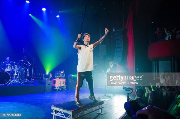 Takahiro Moriuchi from One OK Rock performs at Le Bataclan on December 12, 2018 in Paris, France.