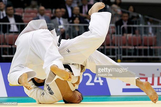 Takahiro Nakai and Tomohiro Kawakami compete in the Men's 81kg final during day two of the All Japan Judo Weight Class Championships 2012 at Fukuoka...