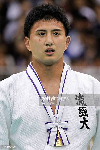 Takahiro Nakai celebrates after winning the Men's 81kg final against Tomohiro Kawakami during day two of the All Japan Judo Weight Class...