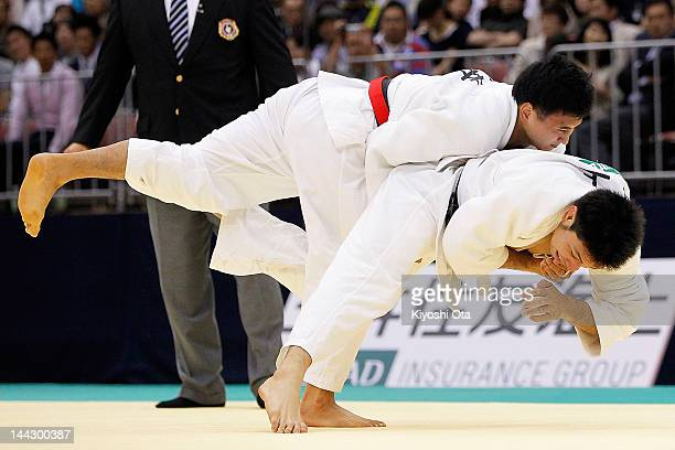Takahiro Nakai competes with Tomohiro Kawakami in the Men's 81kg final during day two of the All Japan Judo Weight Class Championships 2012 at...