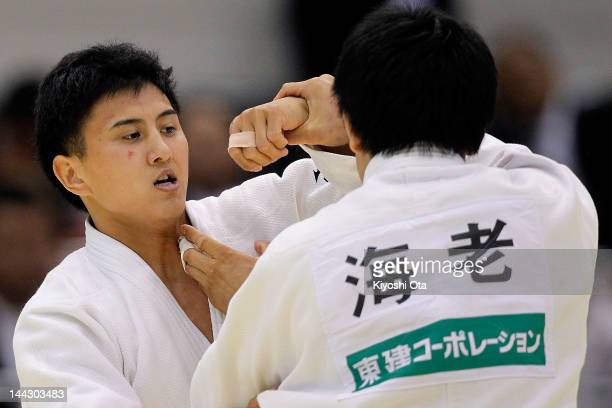 Takahiro Nakai competes with Yasuhiro Ebi in the Men's 81kg semi final during day two of the All Japan Judo Weight Class Championships 2012 at...