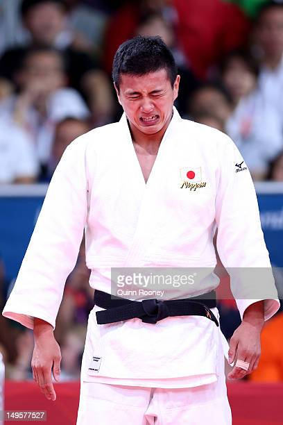 Takahiro Nakai of Japan reacts to losing to Ivan Nifontov of Russia in the Men's 81 kg Judo on Day 4 of the London 2012 Olympic Games at ExCeL on...