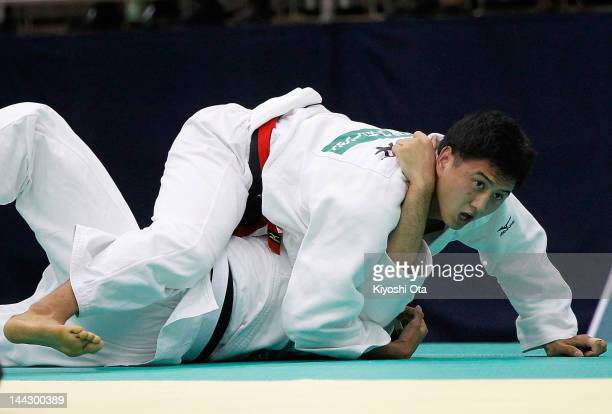 Takahiro Nakai reacts as he wins the Men's 81kg final against Tomohiro Kawakami during day two of the All Japan Judo Weight Class Championships 2012...