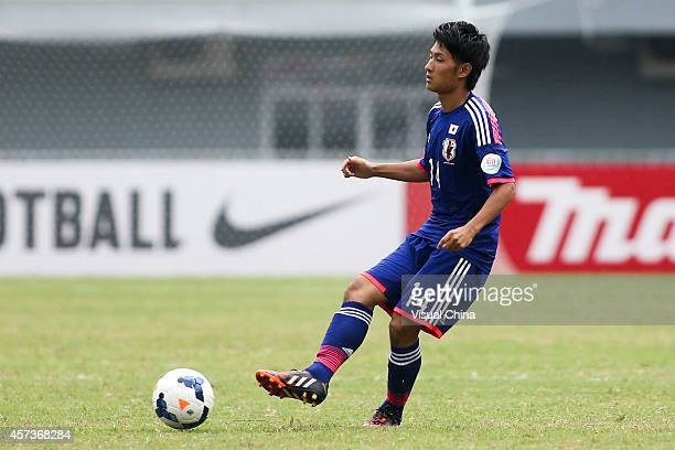 Takahiro Sekine of Japan in action during the AFC U19 Championship quarterfinal match between Japan and North Korea at Wunna Theikdi Stadium on...
