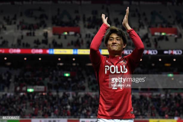 Takahiro Sekine of Urawa Red Diamonds celebrates his side's 41 win after the JLeague J1 match between Urawa Red Diamonds and Ventforet Kofu at...