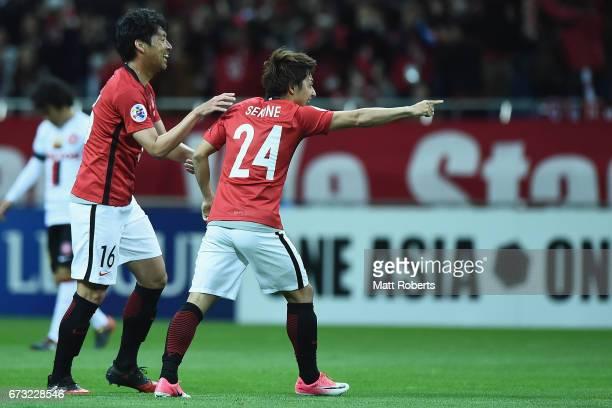 Takahiro Sekine of Urawa Red Diamonds celebrates scoring a goal during the AFC Champions League Group F match between Urawa Red Diamonds and Western...