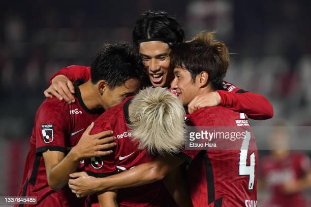 Takahiro Sekine of Urawa Red Diamonds celebrates scoring his side's first goal during the J.League YBC Levain Cup quarter final first leg between...