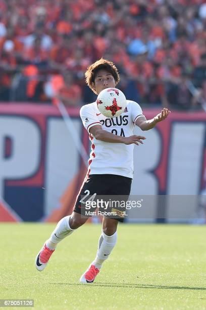 Takahiro Sekine of Urawa Red Diamonds controls the ball during the JLeague J1 match between Omiya Ardija and Urawa Red Diamonds at Nack 5 Stadium...