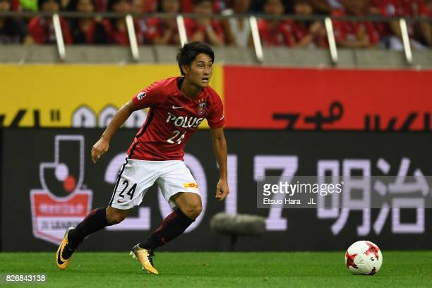 Takahiro Sekine of Urawa Red Diamonds during the JLeague J1 match between Urawa Red Diamonds and Omiya Ardija at Saitama Stadium on August 5 2017 in...