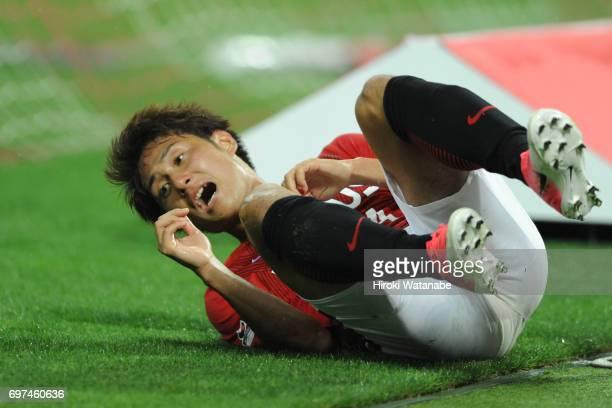 Takahiro Sekine of Urawa Red Diamonds gestures during the JLeague J1 match between Urawa Red Diamonds and Jubilo Iwata at Saitama Stadium on June 18...
