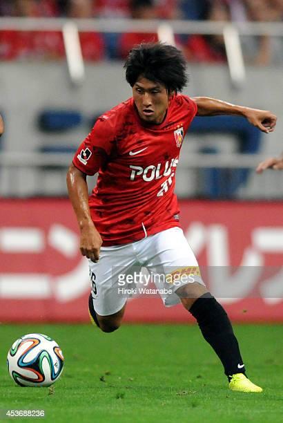 Takahiro Sekine of Urawa Red Diamonds in action during the J League match between Urawa Red Diamonds and Sanfrecce Hiroshima at the Saitama Stadium...