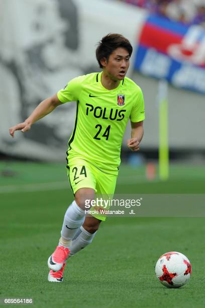 Takahiro Sekine of Urawa Red Diamonds in action during the JLeague J1 match between FC Tokyo and Urawa Red Diamonds at Ajinomoto Stadium on April 16...