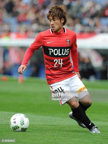 Takahiro Sekine of Urawa Red Diamonds in action during the JLeague match between Urawa Red Diamonds and Avispa Fukuoka at the Saitama Stadium on...