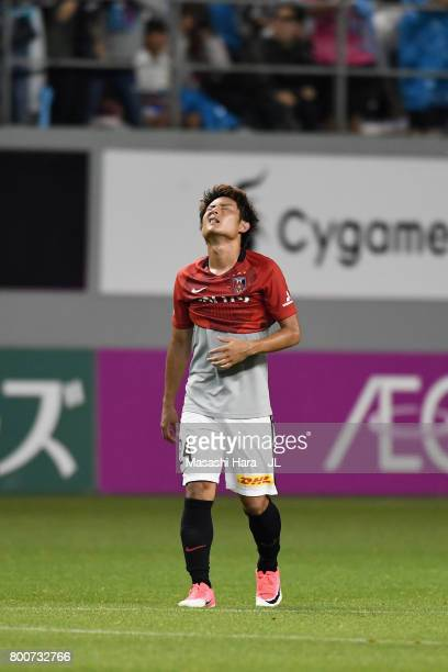 Takahiro Sekine of Urawa Red Diamonds shows dejection after the 1-2 defeat in the J.League J1 match between Sagan Tosu and Urawa Red Diamonds at Best...
