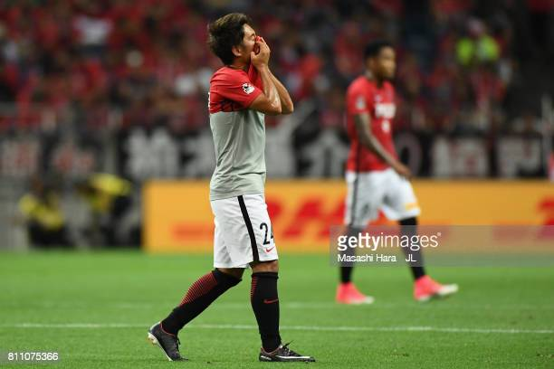Takahiro Sekine of Urawa Red Diamonds walks off the pitch after the first half during the JLeague J1 match between Urawa Red Diamonds and Albirex...