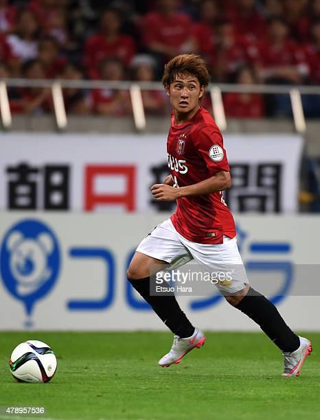 Takahiro Sekine of Urawa Reds in action during the JLeague match between Urawa Red Diamonds and Albirex Niigata at Saitama Stadium on June 27 2015 in...