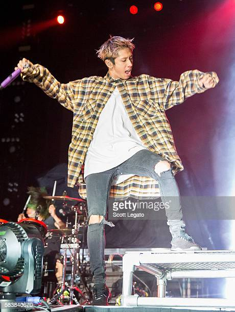 Takahiro Taka Moriuchi of One OK Rock performs at The Palace of Auburn Hills on July 27 2016 in Auburn Hills Michigan