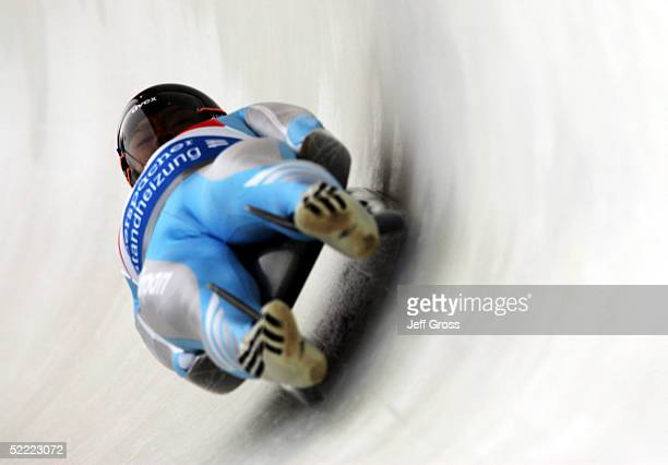 Takahisa Oguchi of Japan competes in the Men's Single Luge portion of the Team Competition during the World Luge Championships on February 20 2005 at...