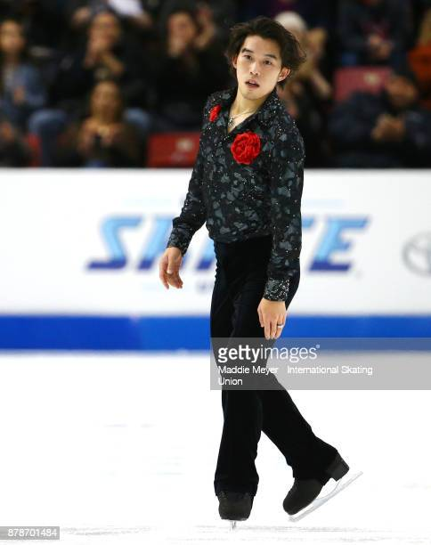 Takahito Mura of Japan after his Mens Short program on Day 1 of the ISU Grand Prix of Figure Skating at Herb Brooks Arena on November 24 2017 in Lake...