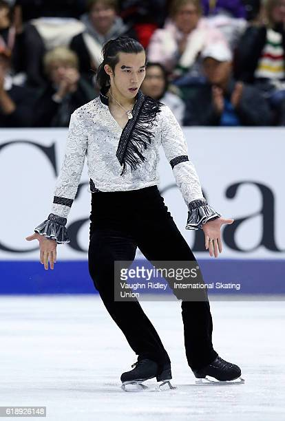 Takahito Mura of Japan competes in the Men Short Program during the ISU Grand Prix of Figure Skating Skate Canada International at Hershey Centre on...