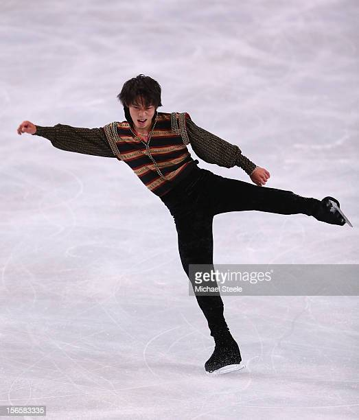 Takahito Mura of Japan in action during the Men's Free Skating program on day two of the ISU Grand Prix of Figure Skating Trophee Eric Bompard at...