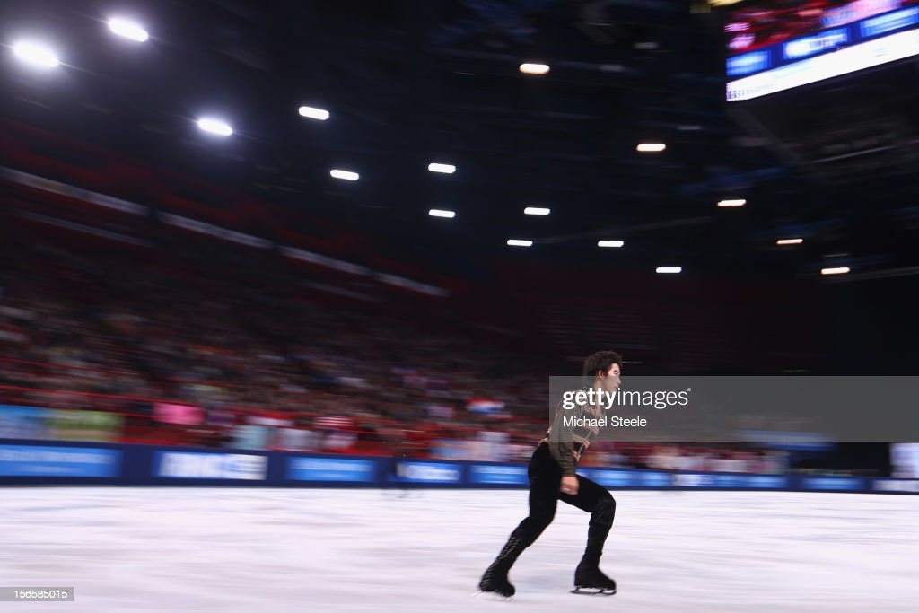 Takahito Mura of Japan in action during the Men's Free Skating program on day two of the ISU Grand Prix of Figure Skating Trophee Eric Bompard at Omnisports Bercy on November 17, 2012 in Paris, France.