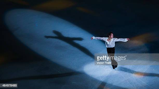 Takahito Mura of Japan performs at the Gala Exhibition event during the Four Continents Figure Skating Championships on January 25 2014 in Taipei...