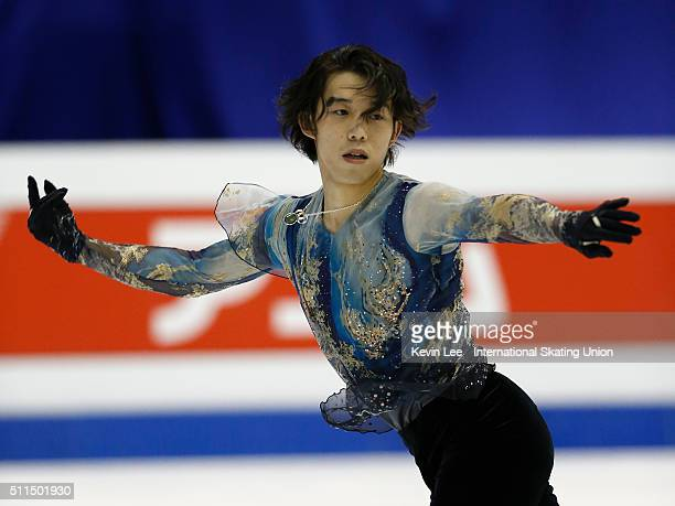 Takahito Mura of Japan performs during the Men Free Skating on day four of the ISU Four Continents Figure Skating Championships 2016 at Taipei Arena...