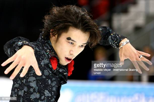 Takahito Mura of Japan performs during the Mens Short program on Day 1 of the ISU Grand Prix of Figure Skating at Herb Brooks Arena on November 24...