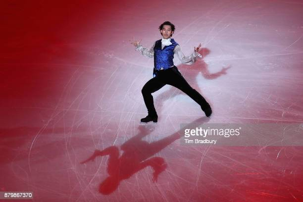 Takahito Mura of Japan performs in the Smucker's Skating Spectacular during day three of 2017 Bridgestone Skate America at Herb Brooks Arena on...