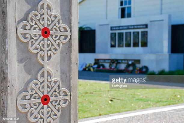 takaka public war memorial garden - anzac poppy stock pictures, royalty-free photos & images