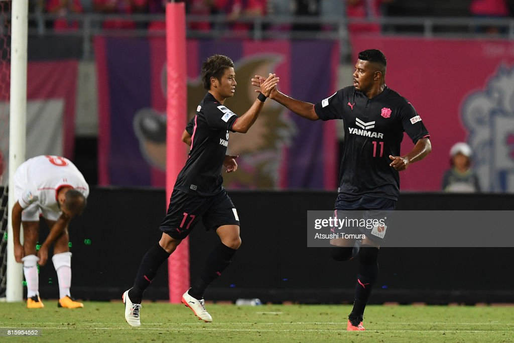 Takaki Fukumitsu of Cerezo Osaka (L) celebrates with Ricardo Santos of Cerezo Osaka (R) after scoring a goal during the preseason friendly match between Cerezo Osaka and Sevilla FC at Yanmar Stadium Nagai on July 17, 2017 in Osaka, Japan.