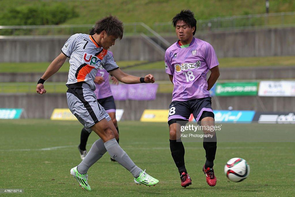 Takaki Fukumitsu of Renofa Yamaguchi in action during the J.League third division match between Fujieda MYFC and Renofa Yamaguchi at Fujieda Stadium on June 7, 2015 in Fujieda, Shizuoka, Japan.