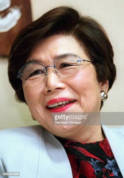 Takako Doi is photographed during an interview on unidentified date in 1999 in Tokyo Japan Trailblazing politician Takako Doi who served as the...