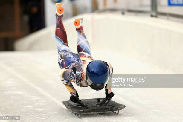 Takako Oguchi of Japan takes a training run in the Women's Skeleton during the BMW IBSF Bobsleigh + Skeleton World Cup at Utah Olympic Park November...