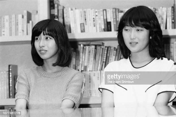 Takako Okamura and Haruko Kato of singer duo Amin during the Asahi Shimbun interview on August 6 1982 in Nagoya Aichi Japan