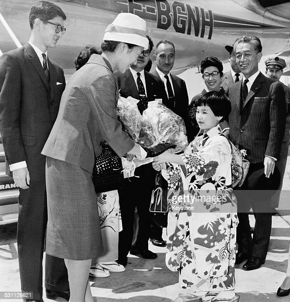 Takako Shimazu formerly the Princess Suga youngest daughter of Emperor Hirohito of Japan arrives at Orly Airport in Paris France with her husband...