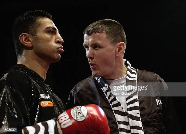 Takaloo of England with his trainer before the WBU Light Middleweight title fight between Takaloo of England and Jim Rock of Ireland held on February...