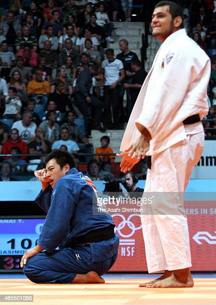 Takamasa Anai of Japan reacts after being defeated by Elmar Gasimov of Azerbaijan in the Men's 100kg quarter final during day five of the World Judo...