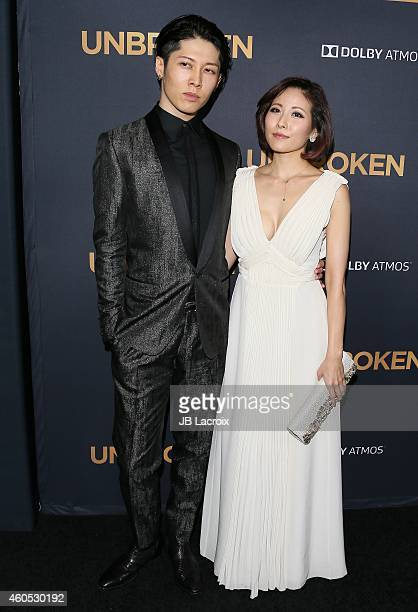 "Takamasa Ishihara aka Miyavi and Melody Ishihara attend the ""Unbroken"" Los Angeles premiere held at the TCL Chinese Theatre IMAX on December 15, 2014..."