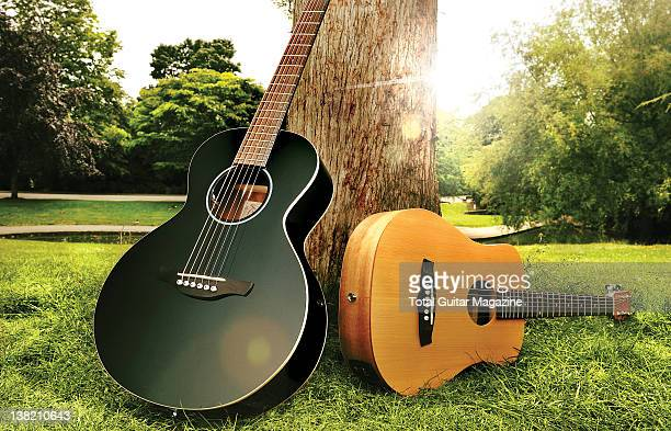 Takamine EGMINI and Tanglewood Roadster TWR TE acoustic guitars. During a shoot for Total Guitar Magazine/Future via Getty Images, May 25, 2011.
