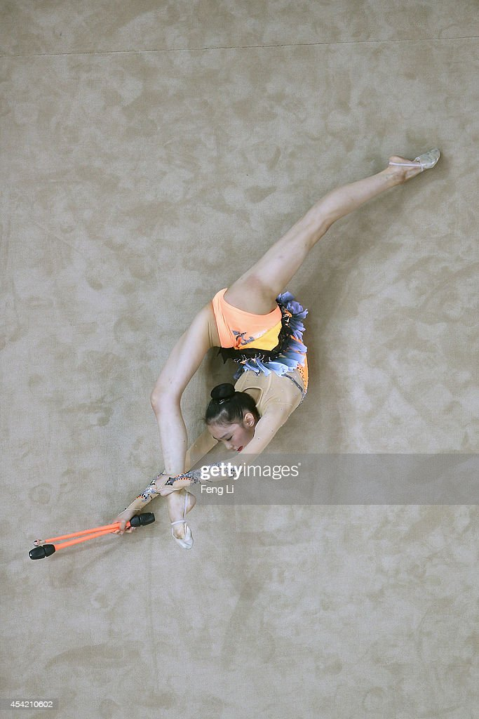 Takana Tatsuzawa of Japan competes in Rhythmic Gymnastics Individual All-Around Qualification on day ten of the Nanjing 2014 Summer Youth Olympic Games at Nanjing OSC Gymnasium on August 26, 2014 in Nanjing, China.
