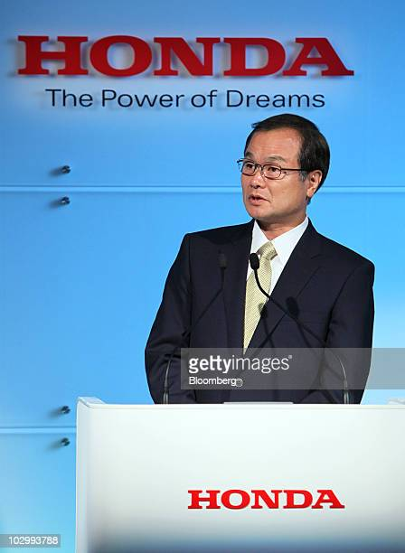 Takanobu Ito president and chief executive officer of Honda Motor Co speaks during a news conference in Wako City Saitama Prefecture Japan on Tuesday...