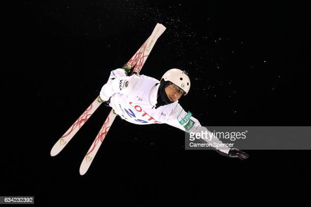 Takanori Minami of Japan performs an aerial during an Aerials training session prior to the FIS Freestyle World Cup at Bokwang Snow Park on February...